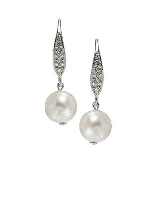 1930s Costume Jewelry Pearl Pave Drop Earrings $22.00 AT vintagedancer.com