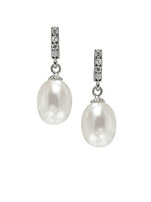 1930s Style Wedding Dresses Pearl Deco Drop Earrings $25.00 AT vintagedancer.com