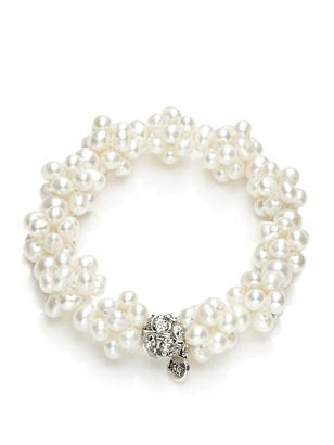 1950s Costume Jewelry Freshwater Pearl Cluster Bracelet $27.00 AT vintagedancer.com