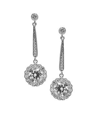 Vintage Inspired Wedding Accessories Drop Flower CZ Solitaire Earrings $28.00 AT vintagedancer.com