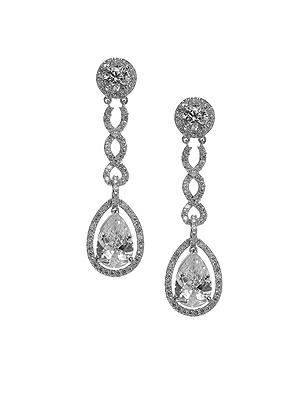 Vintage Inspired Wedding Accessories Pear Shaped CZ Estate Earrings $33.00 AT vintagedancer.com