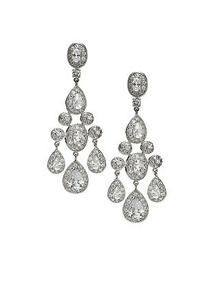 Vintage Inspired Wedding Accessories CZ Empire Chandelier Earrings $41.00 AT vintagedancer.com