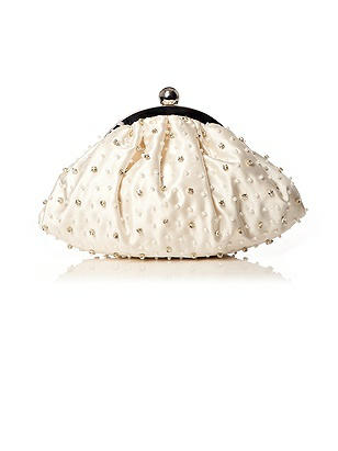 1960s Accessories- Scarves, Sunglasses, Bags, Hats Beaded Matte Satin Bridal Clutch $38.00 AT vintagedancer.com
