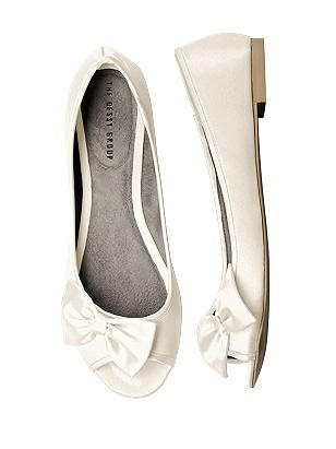 Satin Peep Toe Bridal Ballet Wedding Flats thumbnail