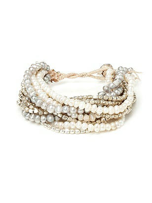 Multi-Strand Pearl and Metallic Bracelet