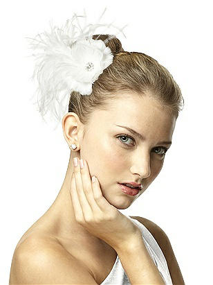 Vintage Inspired Wedding Accessories Feather Flower Hair Clip with Ostrich Accents $29.00 AT vintagedancer.com