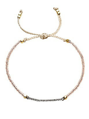 Friendship Bracelet with CZ Bar Detail