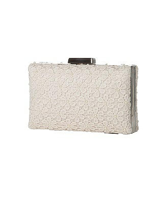 1950s Handbags, Purses, and Evening Bag Styles Pearl Daisy Lace Bridal Mini-Case Clutch $165.00 AT vintagedancer.com
