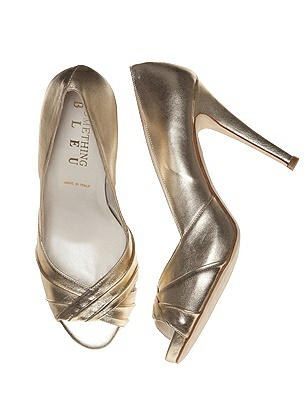 Crown Metallic Platino Leather Pumps