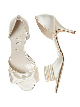 Vintage Style Wedding Shoes, Boots, Flats, Heels Cinnamon BowTie dOrsay Bridal Shoe $95.00 AT vintagedancer.com