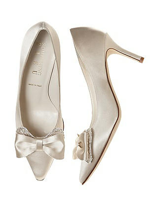 Vintage Style Wedding Shoes, Boots, Flats, Heels Doxy Satin and Sparkle Bridal Pump $95.00 AT vintagedancer.com
