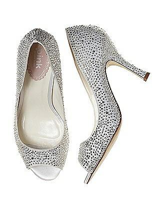 Vintage Style Wedding Shoes Celebrate Open Toe Crystal Bridal Pump $118.00 AT vintagedancer.com