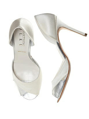 Vintage Style Wedding Shoes, Boots, Flats, Heels Curvey Satin and Silver Bridal Pump $125.00 AT vintagedancer.com