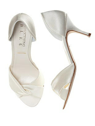 Vintage Style Wedding Shoes Pluto Satin Wrap Peep Toe Bridal Pump $125.00 AT vintagedancer.com