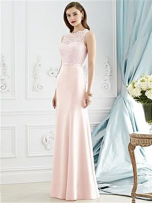 2942c315af3 Dessy 2945. Full length sleeveless dress in marquis lace and nu-georgette.