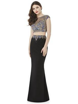 After Six Black Two-Piece Long Prom Dress Bethany