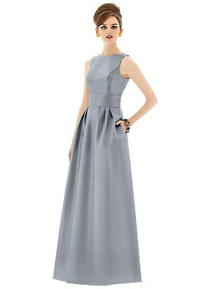32f9ecbf820 platinum Alfred Sung Open Back Sateen Twill Gown D661