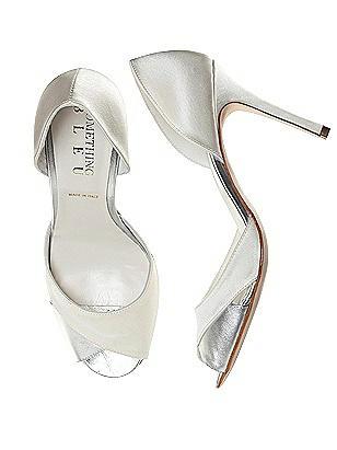 Vintage Style Wedding Shoes, Boots, Flats, Heels Curvey Satin and Silver Bridal Pump $138.00 AT vintagedancer.com
