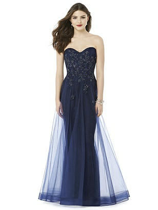 1950s Style Cocktail Dresses & Gowns After Six Midnight Blue Long Prom Dress Ashley $315.00 AT vintagedancer.com