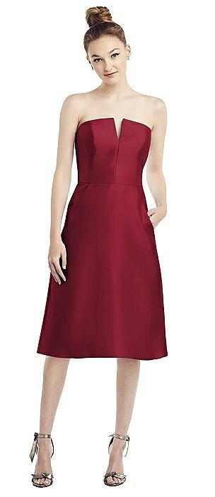 Strapless Notch Satin Cocktail Dress with Pockets