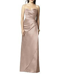 Full Length Strapless Matte Satin Dress - Dessy 2851