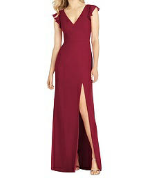 Full Length Lux Chiffon V-Neck Dress - After Six 6810