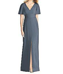 Full Length Sheer Crepe V-Neck Dress - Social 8188