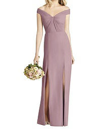 Full Length Off-The-Shoulder- Crepe Dress - Social 8186