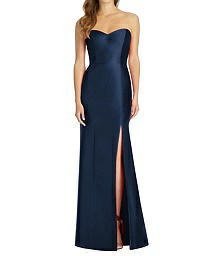 Full Length Strapless Twill Trumpet Dress - Alfred Sung D759