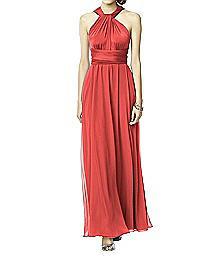 Twist Wrap Dress w/ Chiffon Overskirt: Long - LUXTWIST2