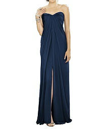 Strapless Draped Chiffon Gown - Dessy 2879