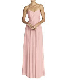 Strapless Shirred Chiffon Gown - Dessy 2880