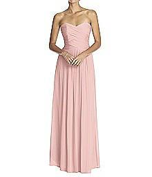 Strapless Shirred Chiffon Gown - Dessy 2880