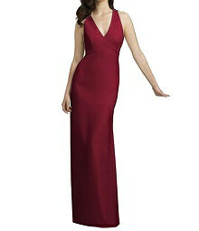 Long V-Neck Halter Crepe Gown - Dessy 2938