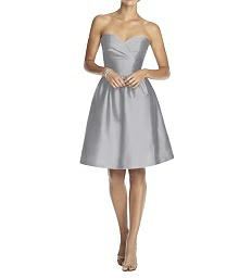 Strapless Peau de Soie Cocktail Dress with Pockets - Alfred Sung D542
