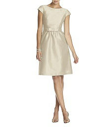 Cap Sleeve Dupioni Cocktail Dress - Alfred Sung D568