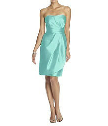 Strapless Draped Peau de Soie Cocktail Dress - Alfred Sung D602