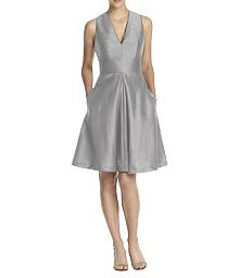 V-Neck Dupioni Cocktail Dress with Pockets - Alfred Sung D610
