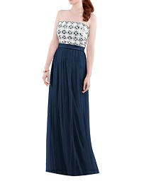 Strapless Long Lace & Chiffon Gown - Lela Rose LR204