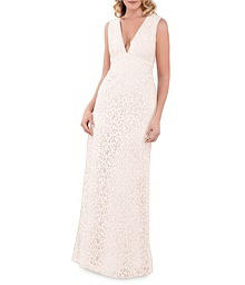 Deep V-Neck A-Line Lace Gown - Lela Rose LR241