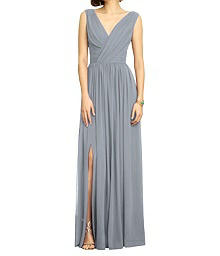 Full Length Draped V-Neck Dress - Dessy 2894