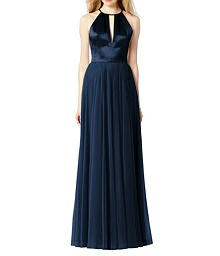 Chiffon and Satin Full Length Halter Dress - After Six 6705
