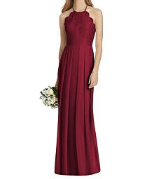 Full Length Chiffon Halter Bodice Dress - Lela Rose LR244