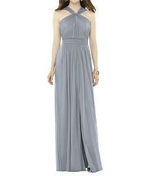 Halter Neckline Full Length Chiffon Dress - Alfred Sung D720