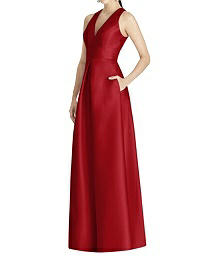 V-Neck Sleeveless Full Length Dress - Alfred Sung D747