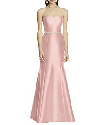 Sateen Twill Sweetheart Neckline Dress with Beaded Sash - Alfred Sung D742