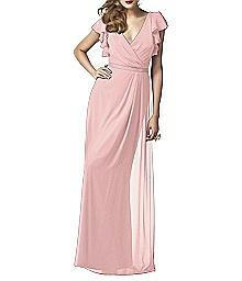 Flutter Sleeve Full Length Lux Shimmer Dress - Dessy 2874LS