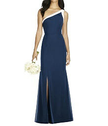 Full Length Trumpet Dress with Ivory Trim - Social Bridesmaid - 8178