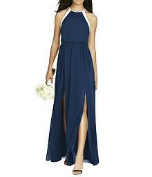 Full Length Halter Chiffon Dress - Social 8179