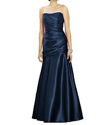 Full-Length Strapless Matte Satin Dress - Dessy 2876